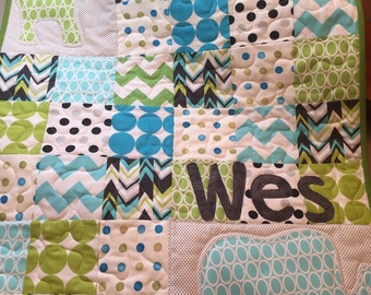 Personalized Themed Novelty Baby Quilt Handmade to Order