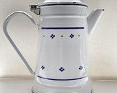 Vintage Coffee Pot - French Enamel Coffee Pot