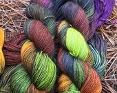 "Fingering Weight, ""Carolina Fiber Ghouls"" Merino Wool Superwash Yarn, 4 oz, machine washable yarn"