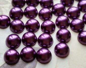 10 mm Dark Purple Color Flat Back Pearl Cabochons (.mtt)
