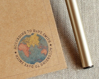 """Personalized Handmade Notepad THE WORLD according to -your name here- 41/4""""  x  5 1/2"""" To Do List Pad  heavy Kraft Card Stock 25 pages"""