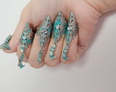 Hand painted mermaid claws - silver and turqoise