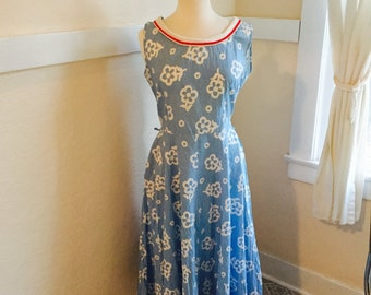 Late 1940's or early 1950s Dress - Vintage 40s or 50s Luv Lee Floral Print Dress L - A Lovely Floral Frock