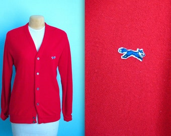vintage red cardigan sweater / fox sweater / mens large / womens xlarge