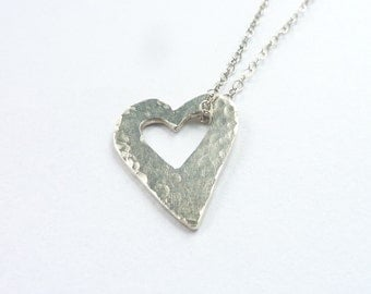 Sterling Silver Heart Valentines Day Pendant - Open Heart Silver Necklace - Free UK Postage