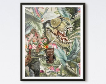 Hunter S T-Rex - Dinosaur Painting - T Rex Portrait - Tyrannosaurus Rex - Funny Dinosaur - Hunter S Thompson - Tropical Art - Dinosaur Art