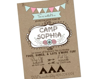 "Girls Camping or ""GLAMPING"" birthday party invitation - Printable file, You Print"