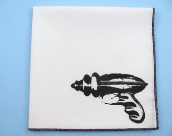 HANKIE -Vintage toy RAY GUN shown on super soft white cotton hanky-or choose from any solid color or plaids shown in pics