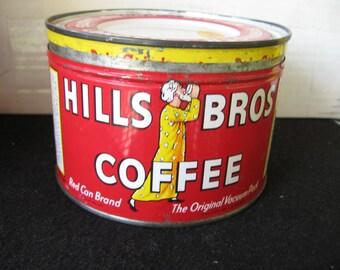 Vintage Hills Bros Coffee Tin,Key Wind, orig lid