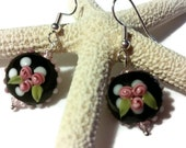 Edgy Black & Pink Floral Earrings