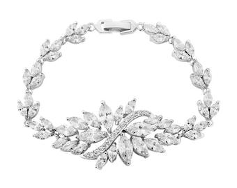 Clarissa Cubic Zirconia Bridal Bracelet - CZ crystal wedding bracelet