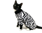 Cat Pajamas Cat Clothes Black and White Zebra Cotton Knit Cat Pajamas pet clothing cat clothing pet clothes cat onesie