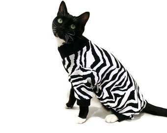 Zebra Cat Pajamas-Black and White Cat Pajamas-Cat Clothes-Pajamas for Cats-Cat Clothing-Cat Onesie-Pet Clothing-Cat Pjs-Pjs for Cats