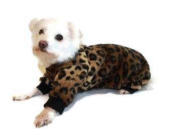 Leopard Fleece Dog Pajamas - fDog Pajamas-Fleece Dog Pajamas-Fleece Dog Onesie-Dog Clothes-Dog Onesie-Chihuahua Clothes-Yorkie Clothes