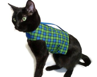 Cat Harness Cat Clothes Royal Blue and Lime Plaid Cat Harness pet clothing cat clothing pet clothes cat clothes