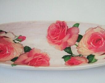 Shabby Rose Wood Tray Bowl- Curio Keys Potpurri Jewelry change