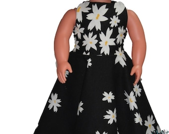 "Floor Length 18"" Doll Clothes White Daisy flowers on  Black Dress w/ Invisible Back Zipper"