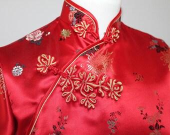 Vintage red rayon satin chrysanthemum pattern. Unworn. Small to medium size