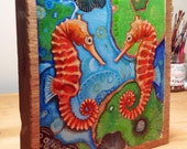"Seahorse original painting on wood panel 7.5"" x 8"""