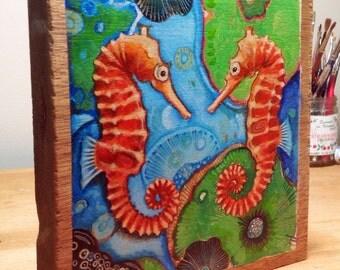 "Seahorse original painting on wood panel 7.5"" x 8"""