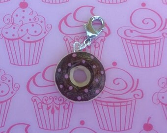 Chocolate Glazed Donut with Sprinkles Polymer Dessert Food Charm Keychain Gift Minature Ooak