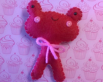 Kawaii Frog Stuffed Plush Plushie Soft Softie Stuffed Animal Doll Gift Ooak Cute Red Pink Valentine Valentines Holiday
