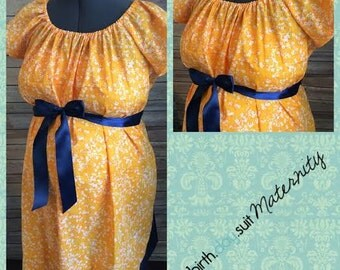 Maternity Hospital Labor Gown- orange floral, navy band