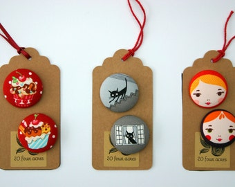 Fridge Magnets - Set of 2, Cupcakes or Black Cats or Russian Dolls - 38mm (1.5 inch) Fabric Button Magnet - Great Gift Idea