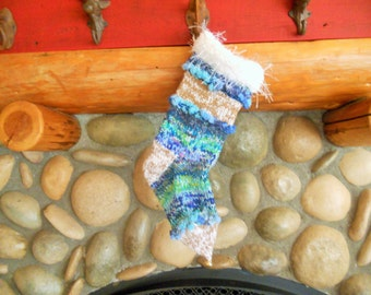 Hand Knit Wool Christmas Stocking , Ocean Dreams