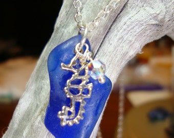 Sterling Silver Seahorse on Natural Blue Sea Glass with Sterling Chain