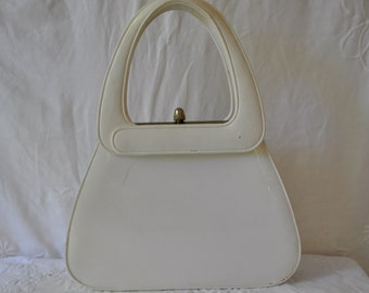 Mod White Patent Leather Handbag/Vintage 1960s/Sleek Round Top Handle Purse
