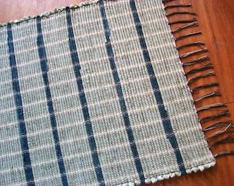 handmade woven rag rug cream blue denim loom woven south dakota made