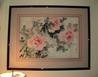 Vintage Large Asian Watercolor Still Life Painting of soft, ethereal pink Peonies, professionally framed and matted in Very Good Condition