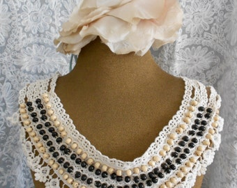 Ecru Crochet Wood Beaded Collars