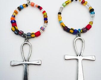 Dangle Hoop Earrings Beaded Ankh Earrings Afrocentric Jewelry