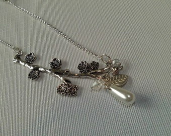 Floral Bridal Necklace, with Back Drop Chain, Flower Branch with Teardrop Pearl, Swarovski AB Crystals , Valentine Sale, Bridal Sale