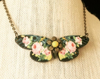 Butterfly Necklace Wooden Butterfly Pendant Roses Nature Inspired