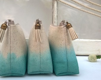 GET ONE FREE - Teal Clutch Purses, Bohemian Bridesmaid Gifts, Ombre Wedding, Wanderlust, Indie Wedding - Set of 7