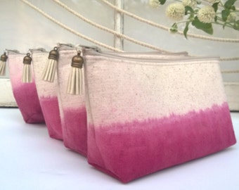 Set of 4 - Ombre Clutch Purses, Pink Bridesmaid Gifts, Wedding Clutches, Bohemian, Make Up Bag