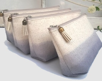 Grey Linen Clutch Purses, Ombre Bridesmaid Gifts, Wedding Clutches, Bohemian - Set of 3