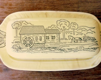 Vintage yellow butter dish with rural scene, grist mill scene, transferware dish, rural horse scene, vintage kitchen, country kitchen