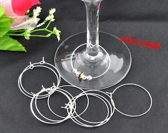 100 Silver Wine Glass Charm Rings - Earring Hoops - WHOLESALE - 30mm - Ships IMMEDIATELY  - SC1169a