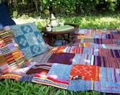 Boho Blanket Hmong Patchwork Throw Blanket Vintage Embroidery Batik And Applique Bohemian Decor