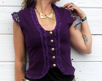 Deep Purple Ladies Victorian Ruffle vest with Custom engraved brass Sri Yantra Snaps