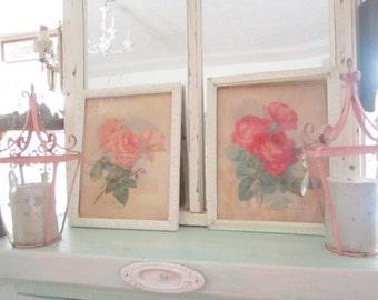 Red roses  vintage inspired print   in shabby chic  frame   romantic vintage prairie
