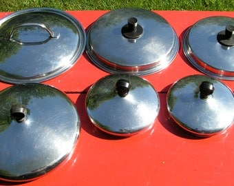 Industrial Stainless Steel POT LID SALVAGE  -  Repurpose -  Re Use - Re Do  -Set of  Six Lids
