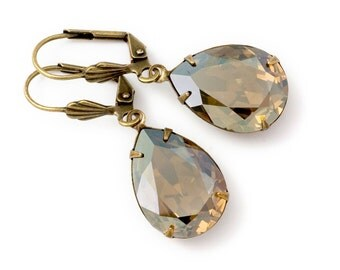 Taupe Earrings, Taupe Rhinestone Dangle Earrings, Taupe Crystal Earrings, Rhinestone Earrings, Nickel Free Jewelry, Drop Earrings, Deena