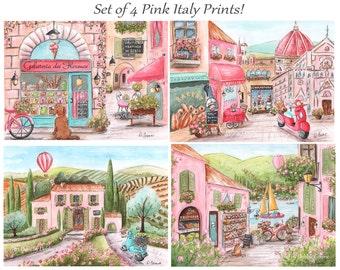 Italian Baby, Travel Themed Nursery Art For Girl, Custom Girl's Name, Set of 4,  Personalized Baby Shower Gift, Nursery Wall Art