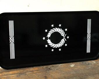 Vintage Trays Porcelain Black and White Enamel Serving Trays Stove Top Porcelain Burner Covers Americana