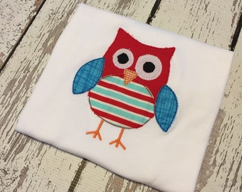 Size 2t Ready To Ship Boys Owl Shirt Owl Applique Shirt